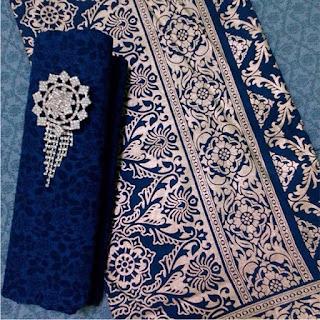 Kain Batik dan Embos 934 Prada Biru navy