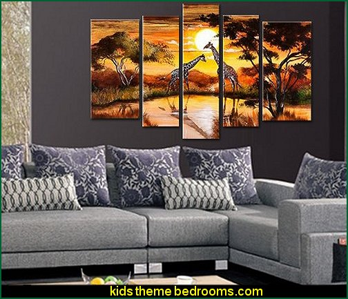 Cherish Art Hand Painted Oil Painting African Giraffe Landscape 5 Panels Wood Inside Framed Hanging Wall Decoration
