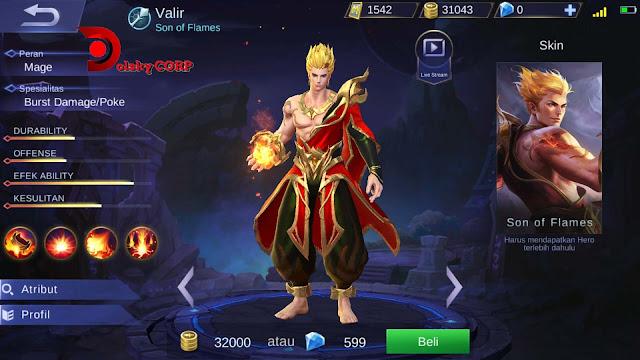 Mobile Legends : Hero Valir ( Son of Flames ) High Damage Builds Set up Gear