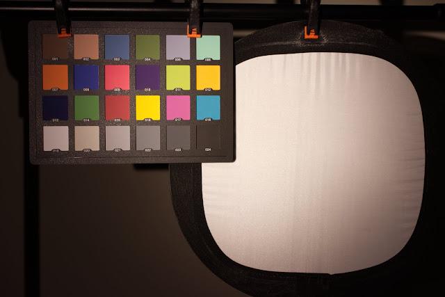 Karta kolorów oświetlona latarką Lumintop IYP365. Balans bieli w aparacie ustawiony na auto.