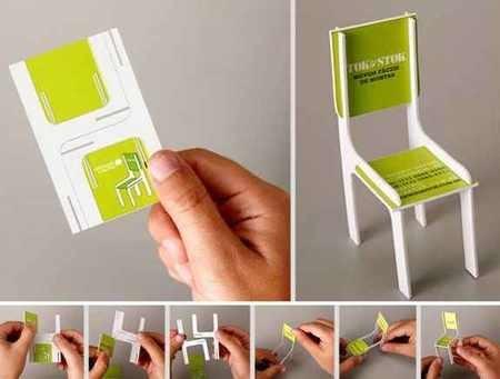 بطاقة عمل مكتب تصميم أثاث منزلي على شكل كرسي صغير