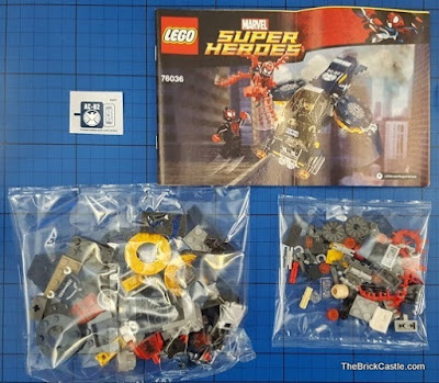 LEGO Marvel Carnage's SHIELD Sky Attack Set 76036 box contents