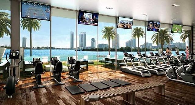 Phòng Gym được trang bị hiện đại.