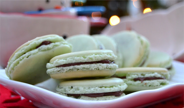 Chocolate mint flavour French macarons perfect for after dinner