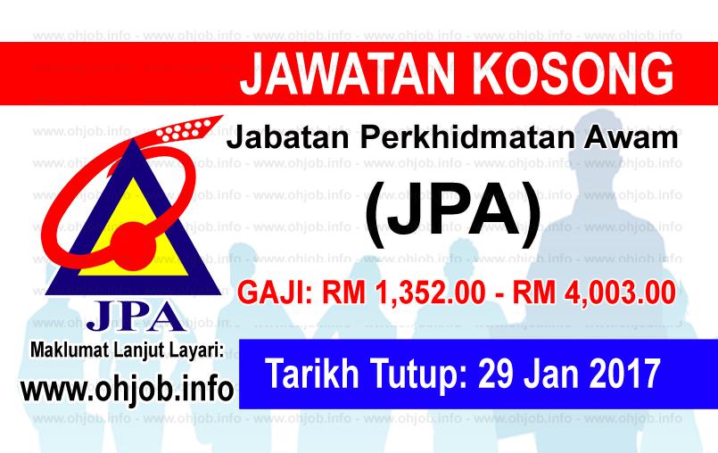 Jawatan Kerja Kosong Jabatan Perkhidmatan Awam (JPA) logo www.ohjob.info januari 2017