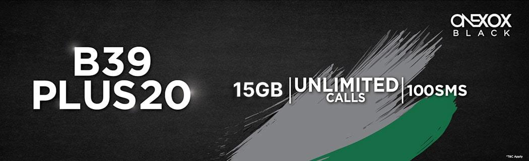 ONEXOX BLACK B39PLUS20 Unlimited Calls 15GB