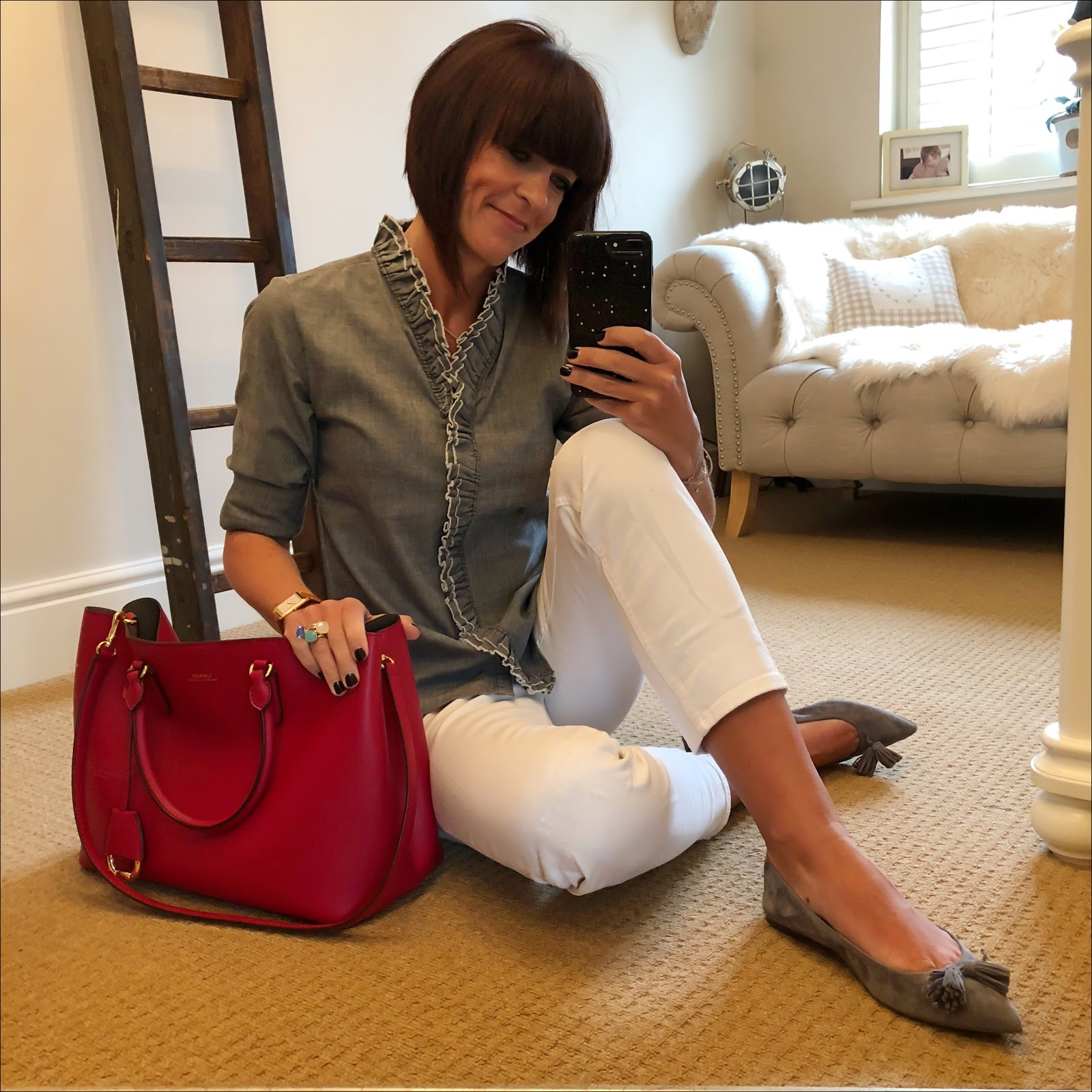 my midlife fashion, isabel marant etoile lawendy ruffle shirt, zara distressed cropped white jeans, j crew tassel pointed suede flats, lauren ralph lauren dryden tote