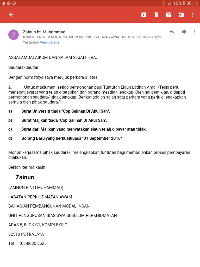 PERMOHONAN TUNTUTAN ELAUN LATIHAN AMALI JPA (berkuatkuasa mulai 1 September 2016)