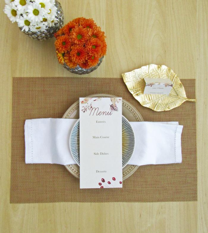 Friendsgiving holiday celebration, free printable, menu card, invitation, place cards, leftovers labels, menu planner, guests list, garland, banner