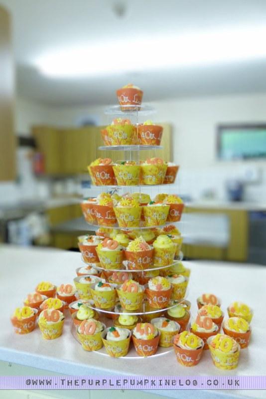 [Orange & Yellow 40th Birthday Party] Cupcakes Tower/Tier