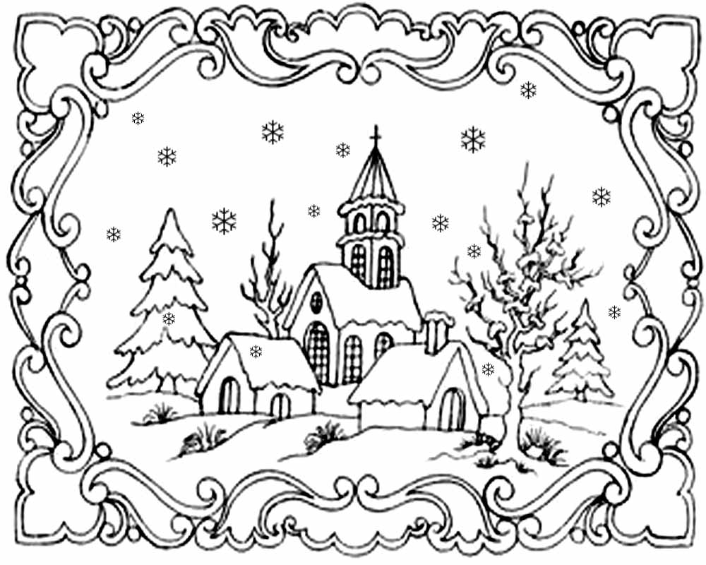 lovely printable clipart christmas card landscape picture winter snowflake coloring pages for adults - Winter Coloring Pages For Adults