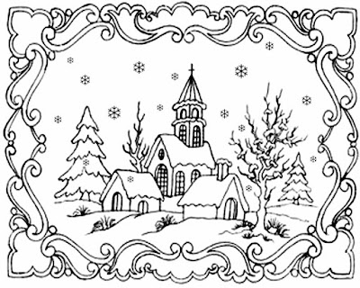 Lovely printable clipart Christmas card landscape picture winter snowflake coloring pages for adults