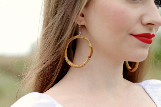 Bow & Crossbones tiki hoop earrings