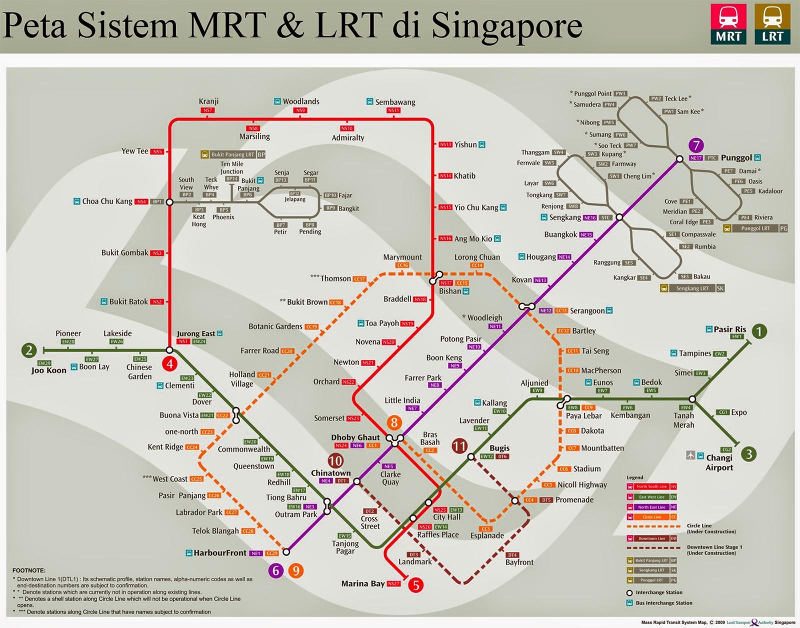 Peta Sistem MRT di Singapore yang juga dapat membantu anda memilih hotel di Singapore.