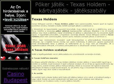 online póker játék - texas holdem