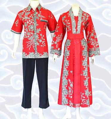 Model Gamis Batik Sarimbit modern