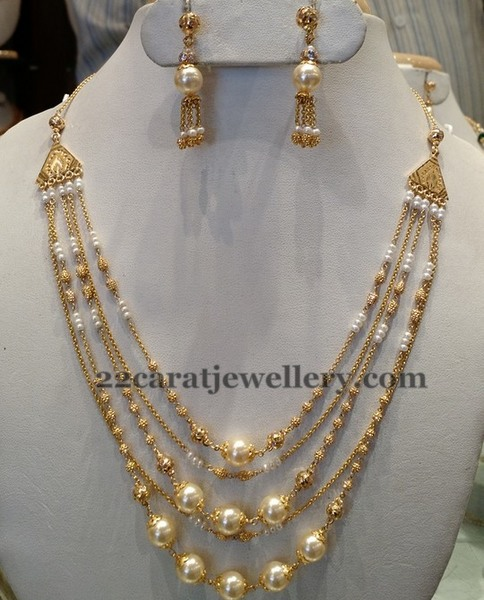 5 Rows Pearl Necklace 25 Grams Jewellery Designs
