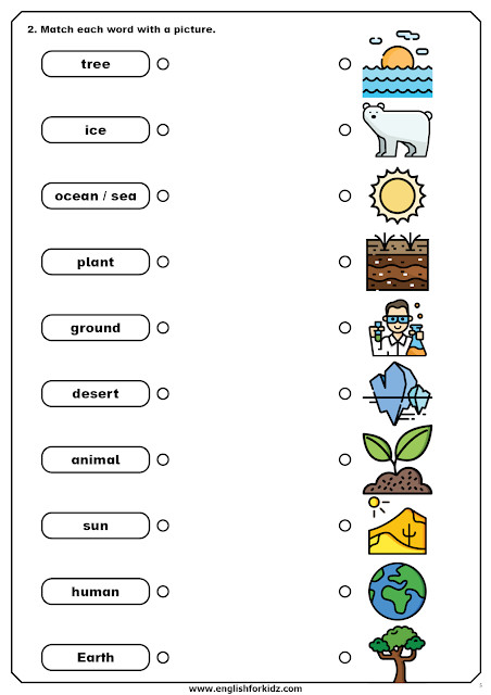 Global warming worksheet - word to picture matching