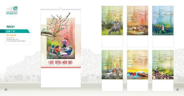 NH31 - Bức tranh quê, Lịch treo tường 7 tờ, in lịch, mẫu lịch đẹp