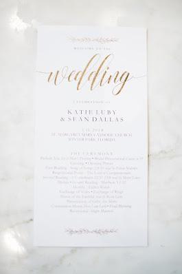 Wedding itinerary and wedding program