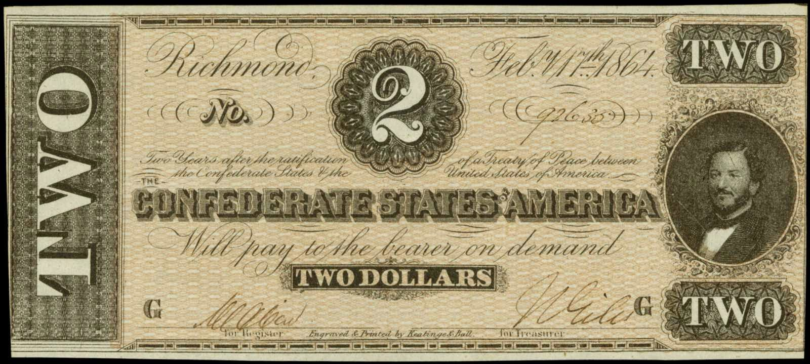 Confederate States Currency 2 Dollar Bill 1864 Civil War Note