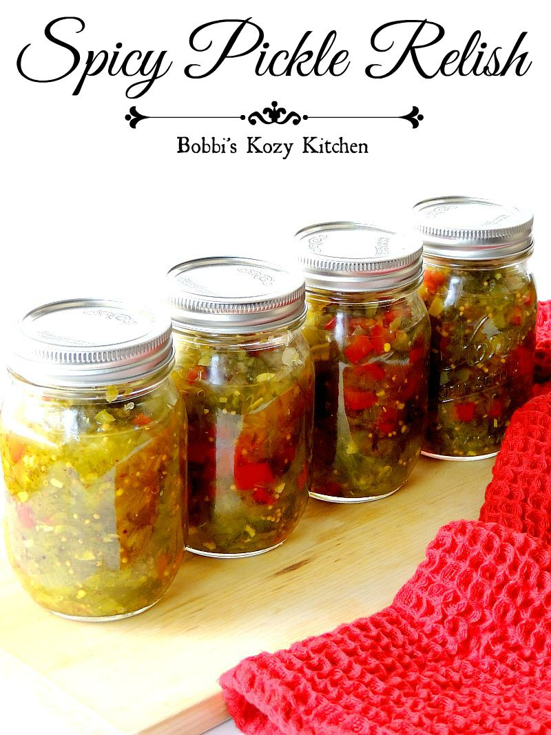 This spicy pickle relish recipe is perfect. Tangy, sweet, with just a bit of heat. It will soon become your go-to relish for hot dogs, burgers, and more and the perfect way to add a little something something to your low carb and keto dishes! #pickle #relish #cucumber #spicy #lowcarb #keto #easy #canning #recipe | bobbiskozykitchen.com