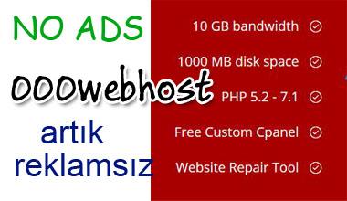 000webhost reklamını ücretsiz engelleme kodu