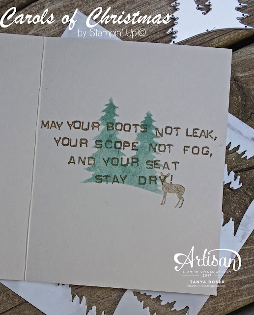 Embossing paste allowed to dry and sponged with Tranquil Tides and the Carols of Christmas stamp set and dies from Stampin' Up! create a fun card for the hunters in your life.