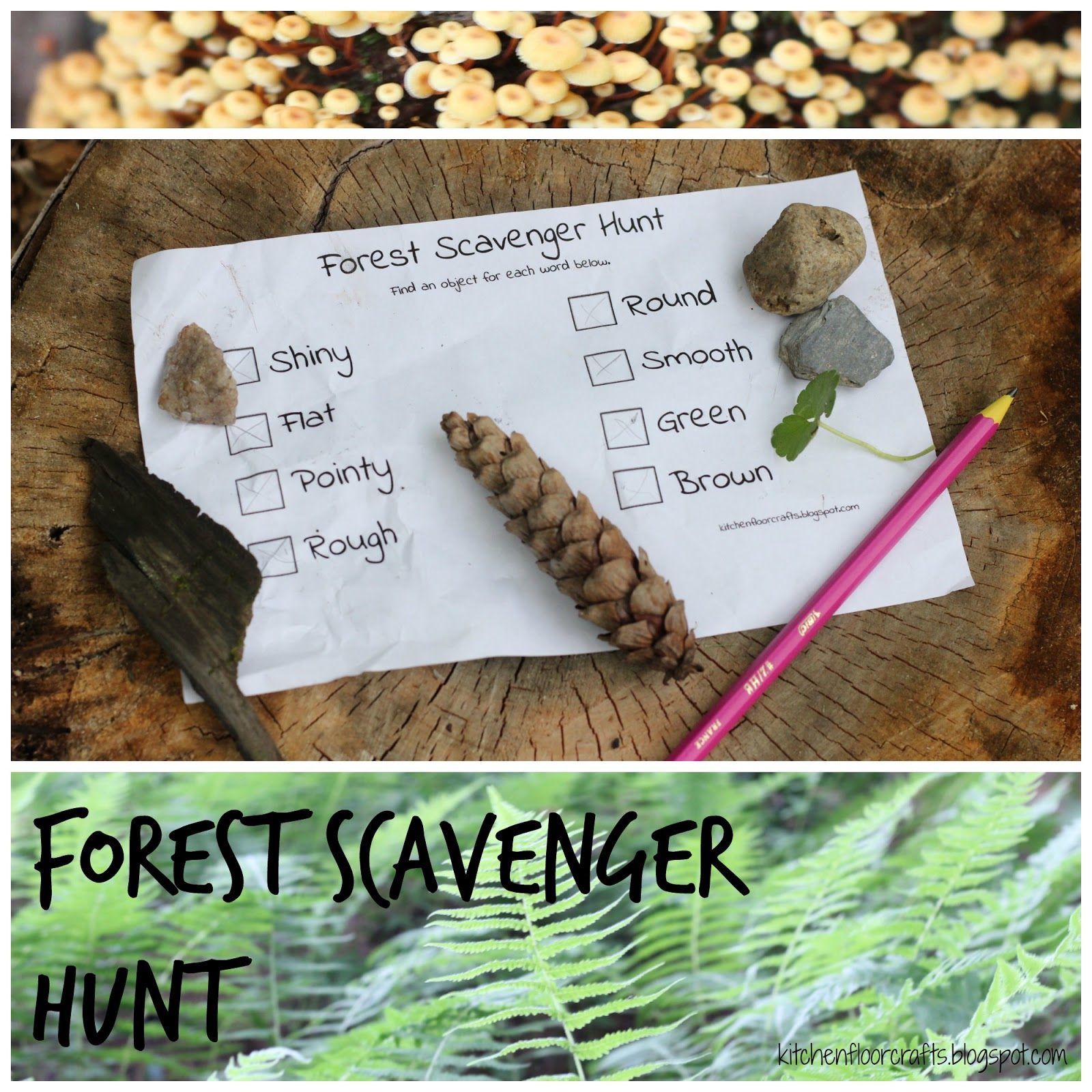Kitchen Floor Crafts: Forest Scavenger Hunt (with free printable)