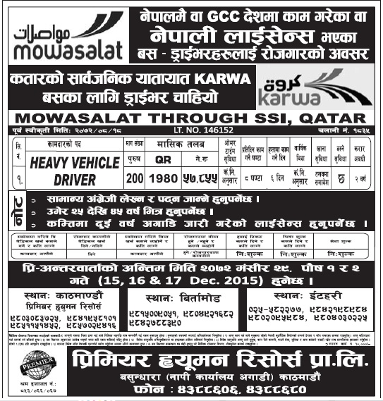 Jobs in Qatar for Nepali, Salary Rs 57,855