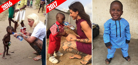 STARVING CHILD WHO WAS LEFT FOR DEAD BY HIS PARENTS WHO THOUGHT HE WAS A WITCH IS FULL OF JOY AS HE SETS OFF FOR HIS FIRST DAY AT SCHOOL ONE YEAR LATER AFTER AMAZING RECOVERY