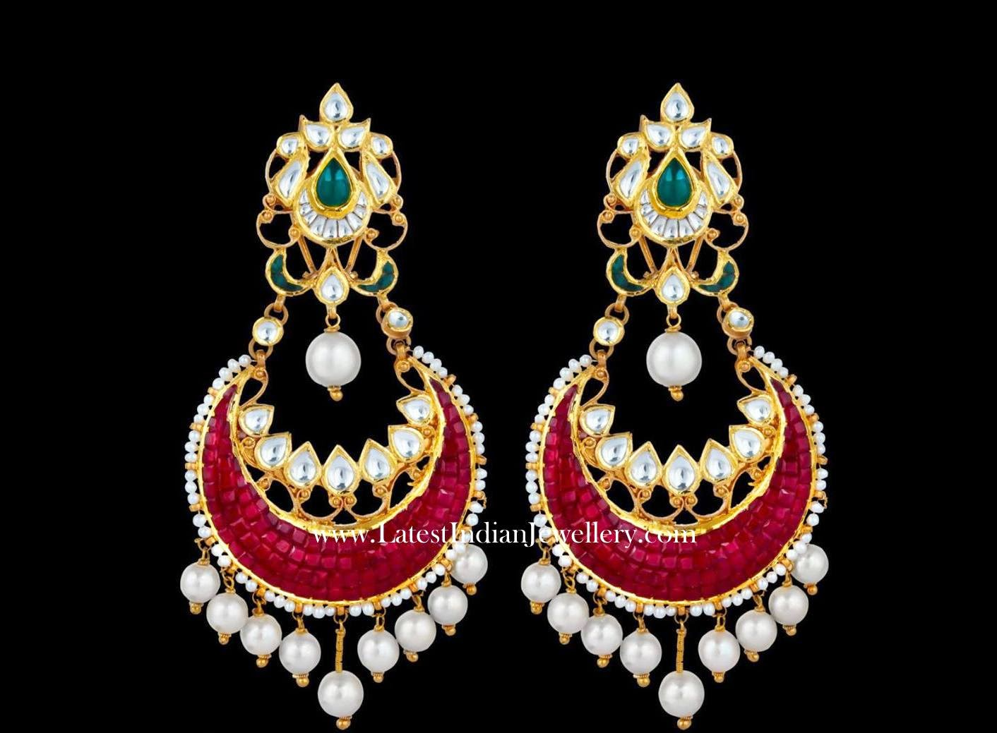 Grand Ruby Chand Bali Earrings