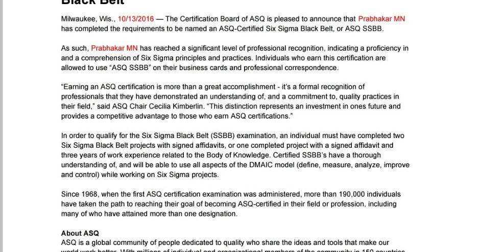 Awesome Six Sigma Asq Certification Image - Online Birth Certificate ...
