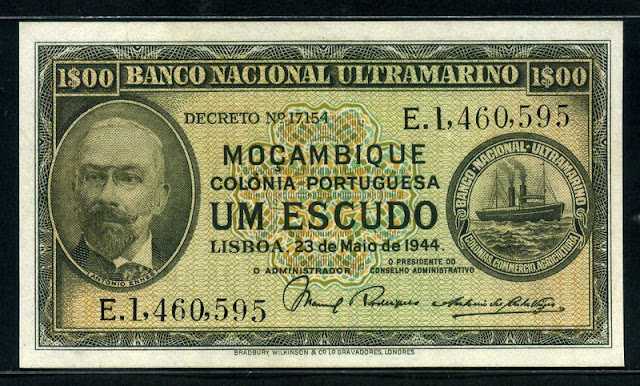 Mozambique money currency Escudo banknote