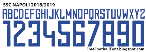 Free Football Fonts: SSC Napoli 2018/2019 Kit Font