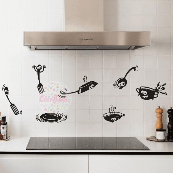 Vinilo decorativo cocina utensilios divertidos w169 cdm - Vinilo para cocina ...