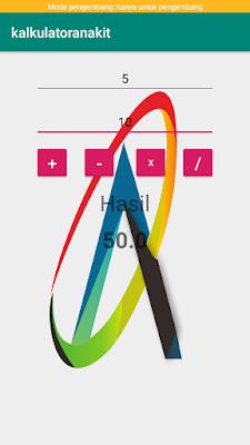Hasil dari aplikasi membuat aplikasi kalkulator android di android studio
