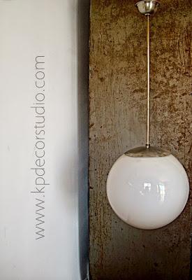 Lampara vintage de cristal bola blanca