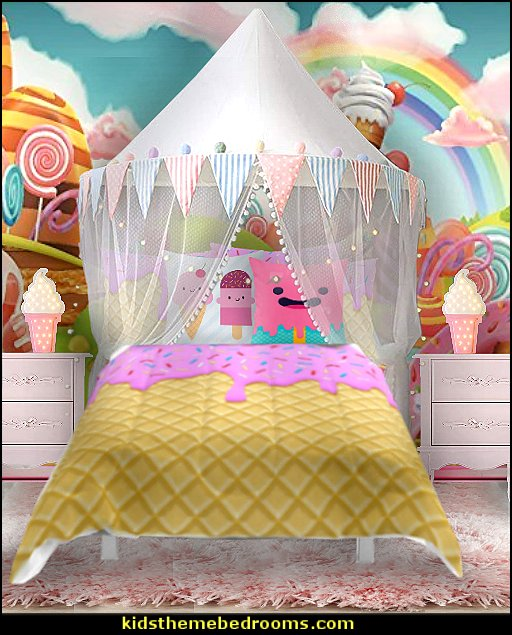 ICE CREAM BEDDING cupcake candy bedroo decorating ideas   circus bedroom ideas - circus theme bedroom decor - carnival theme bedrooms - decorating circus theme bedrooms - Ice Cream theme decor - balloon decor - Disney Dumbo - circus party theme - Roller Coaster Amusement Park wall decals - ice cream party decorations