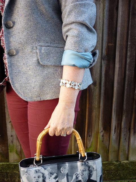Grey & Opal Bracelet, Bamboo Handle Marilyn Munroe Print Bag | Petite Silver Vixen