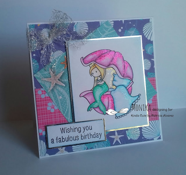 Mermaid in shell digital stamp