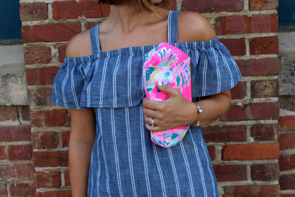chambray dress, handmade clutch, summer style