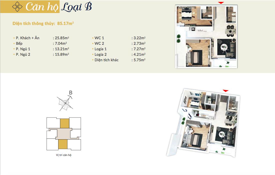 Thiết kế căn hộ loại B - 85,17m2 - 2PN, 2VS chung cư Bohemia Residence
