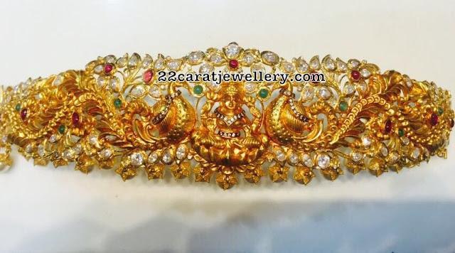 Peacock Lakshmi Waist Belt with Pachi Work