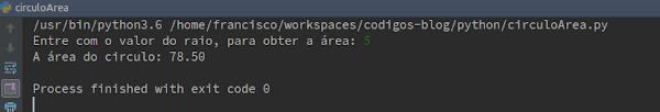 Resultado Script Python área do círculo