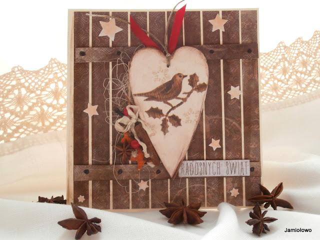 kartka z  sercem ozdobionym decoupage