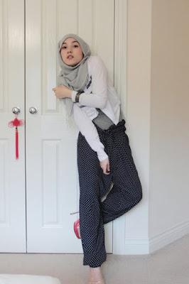 Motoif Hijab Polkadot hana tajima jepang hana tajima jilbab tutorial hana tajima japan hana tajima jubah celana cantik dan manis