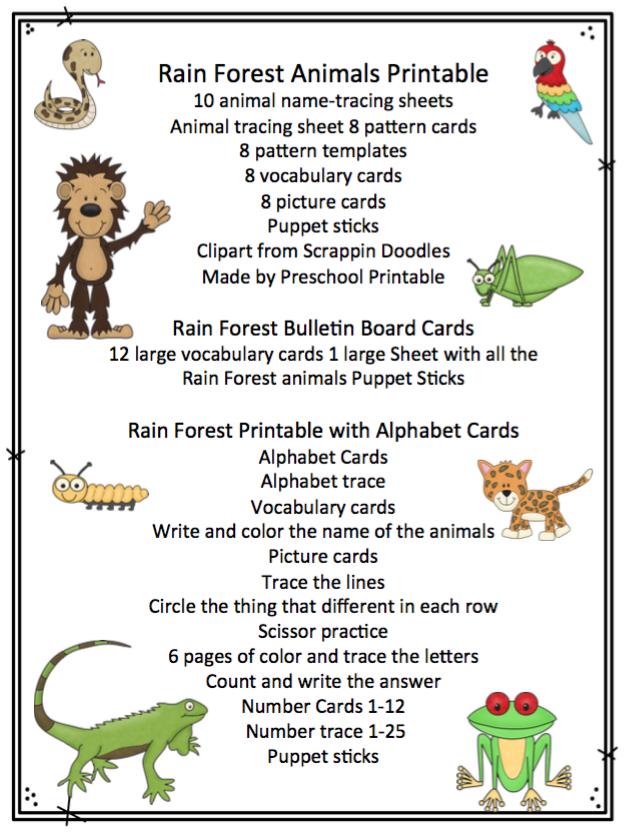 Rainforest Bundle 1 ~ Preschool Printables