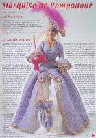 Crochê Para Barbie Vestido de Época, Chapéu e Sombrinha Com Gráfico