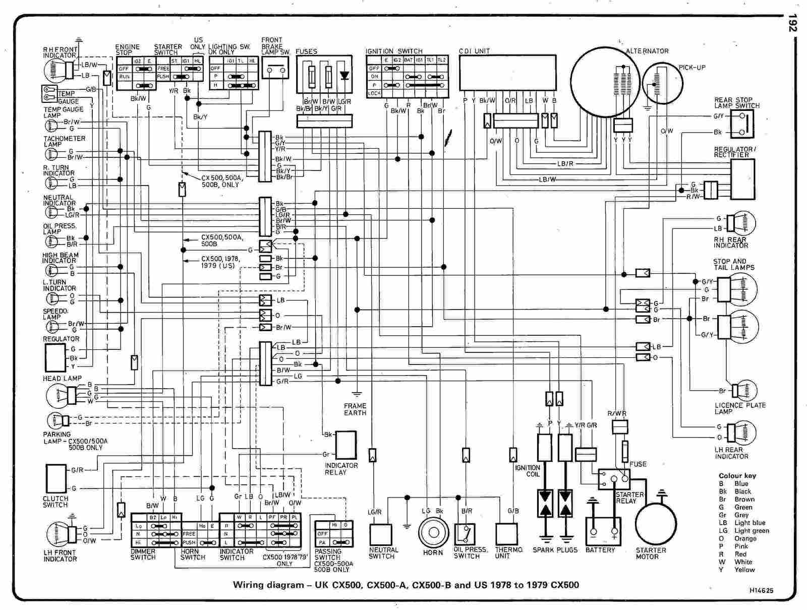 Elec Wiring Diagram : Honda cx a b uk and us